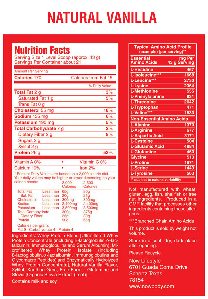 nutrition facts protein vanilla